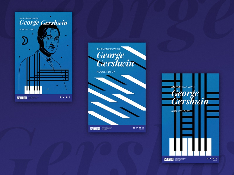 🎹Gersh for the win 🎹 concepts poster kansas city theatre musical gershwin george vector design illustration typography type simple piano