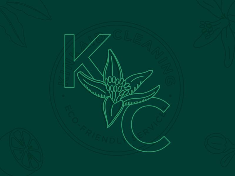 Kinkaid Cleaning kinkaid green flower lemon eco-friendly company cleaning icon illustration design branding type logo kansas city