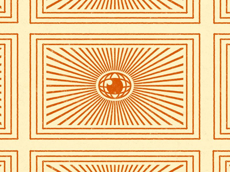 Encyclopedia glare morning stamp texture burnt orange cream starburst world line book spine encyclopedia eye vector icon illustration kansas city design
