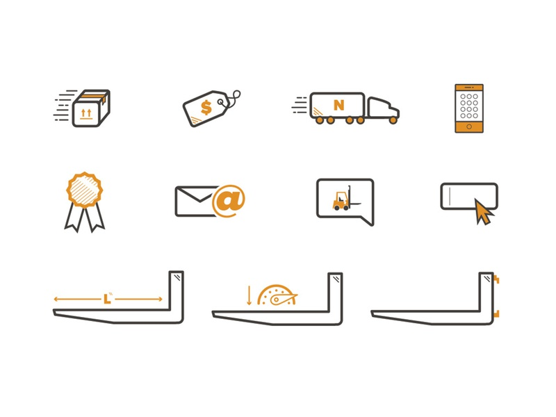 Netforks Icons speed input fields medal package box contact phone email truck shipping lift fork forklift black orange web design vector illustraion brand identity icons