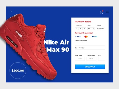 Daily UI 002 | Credit Card Checkout Form nikeairmax nikeairmax90 nike webdesign website web form page checkout page checkout form checkout uxdesign uidesign ux ui 002 dailyui002 dailyuichallenge dailyui daily