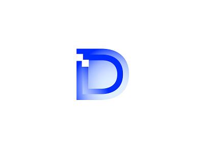 Dominant Design group Logo klein soft gradient identity pixels blue clean minimalist branding logo