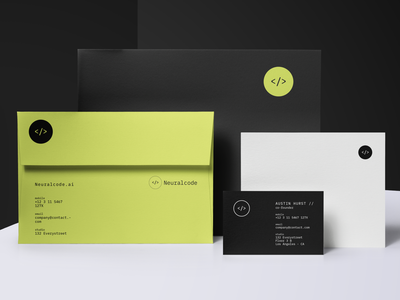 Neuralcode.ai digital coding logo identity stationery simple clean swiss black green mono monotype envelopes business cards print collateral branding