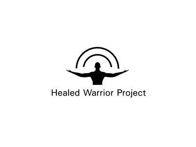 Healed Warrior Project black and white brand identity branding charity iconic simple clean swiss rainbow man icon minimalist logo