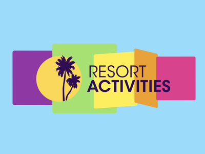 Harrah's Resort Activities gaming casino resort brand identity sky blue 70s design flat minimalist simple retro pastel icon palm trees summer colors identity branding logo