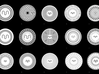 m Coins branding m badge circle blackwhite patterns cymatics sacredgeometry futuristic modern logo crypto coin bitcoin blochain icon identity simple black and white minimalist