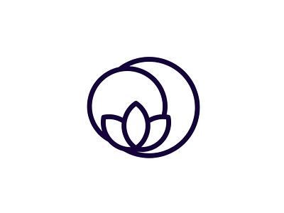 Moonflower Logo lifestyle cannabis meditation thc cbd logo concept logo design branding identity minimalist geometric lotus flower moon symbol icon logo
