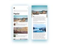 Travel blog app concept.