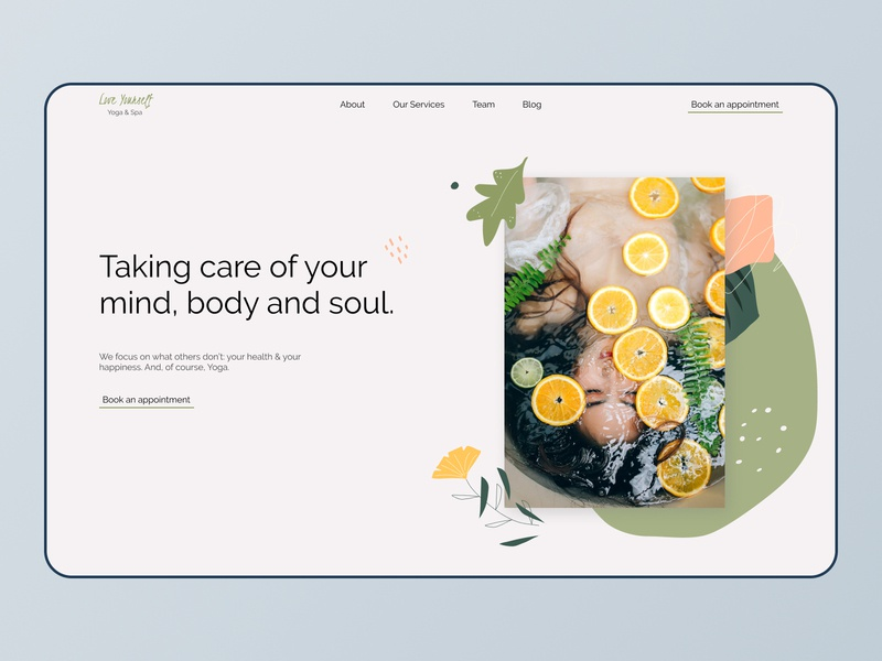 Yoga & SPA website main page flat illustration web ui design