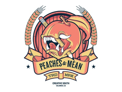 Peaches & Mean creative south screen print poster illustration