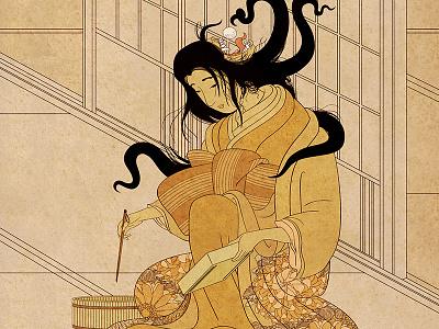 Yōkai Series: Futakuchi-onna illustration poster japan japanese yokai futakuchi-onna monster ghost
