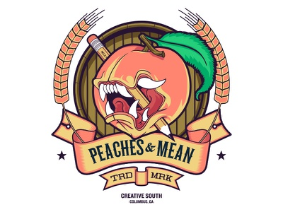 """Peaches And Mean """"Full Color"""" illustration poster screen print creative south"""