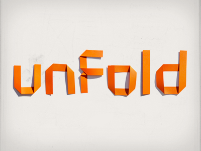 unfold typography folds paper orange shadows
