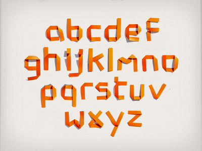 unfold – alphabet typography paper folds handmade orange alphabet