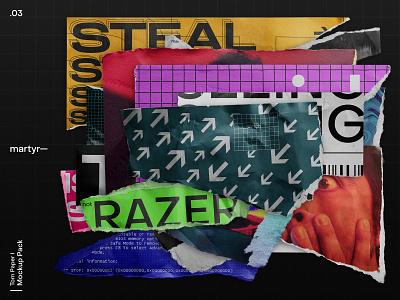 Torn Paper I — Mockup Pack // martyr— dark brutalism broken torn paper brutalist branding mock up download psd wrinkles mockup design