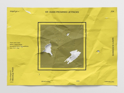 We Were Promised Jetpacks @ martyr— whitespace white yellow poster experimental conceptual a4 size a4 design mockup wrinkles psd download mock up branding paper torn broken music freebies