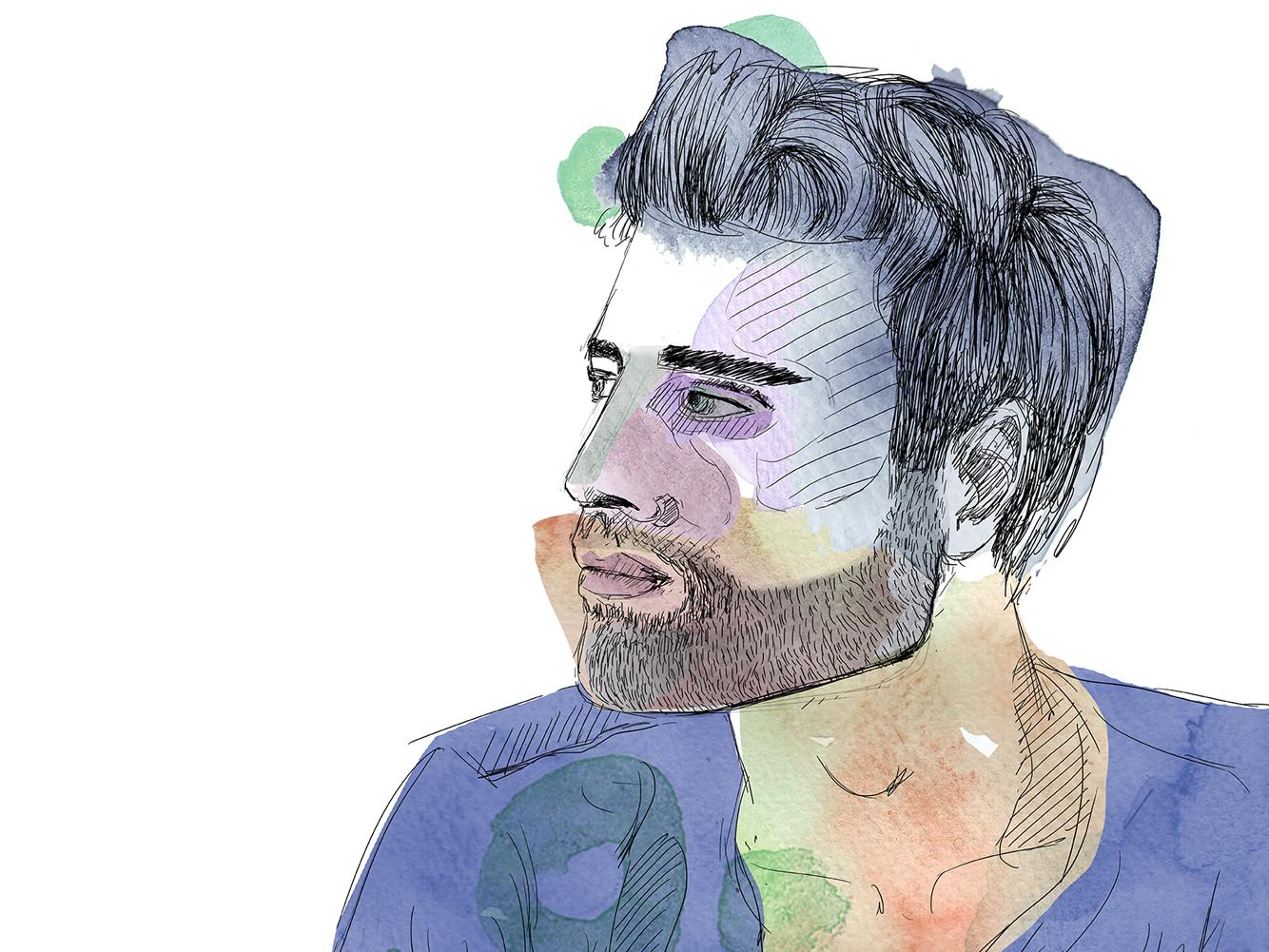 Beautiful boy gift picture digital watercolor retrait art comic doodle illustration