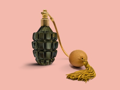 Grenade + Perfume love war minimal perfume grenade mixed media collage photomontage