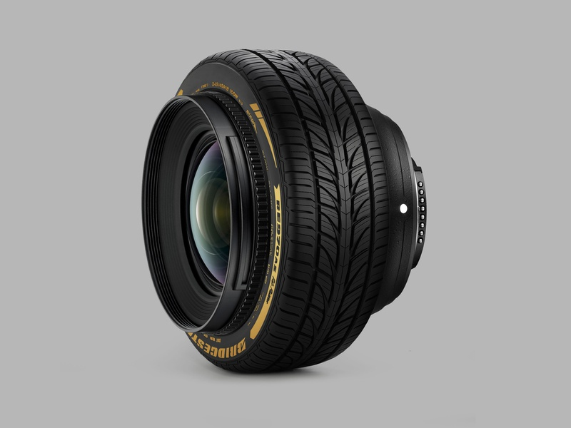 Lens + Tire lens camera tire mixed media minimal collage photomontage