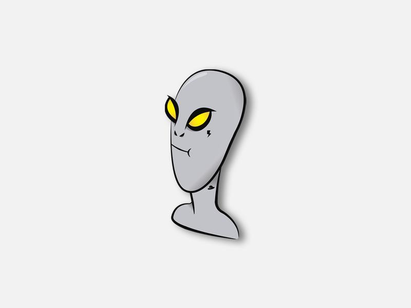 Gris strange thunder gray alien ufo space ovni art mark icon vector drawing illustration