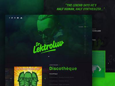 Dr. Lektroluv dark black green singlepage singlepager producer deejay layout website full-size