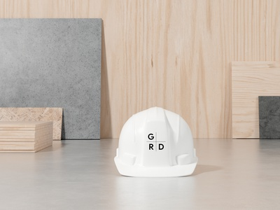Google R+D - Contruction hat white construction materrial building construction hat grid graphic design design san francisco logo typography identity branding