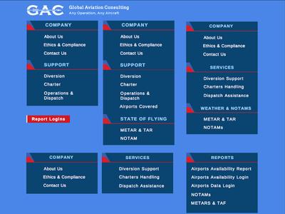 Global Aviation Website Design Navigation Design