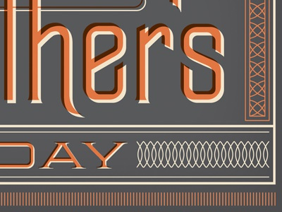Father's Day Card lettering ornament orange grey