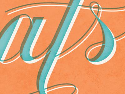 Congrats lettering orange blue congrats card