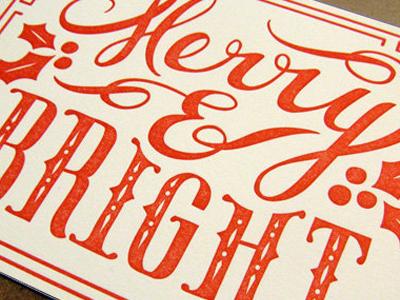Merry & Bright lettering letterpress illustration
