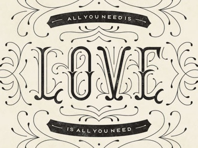 All You Need Is Love typography illustration lettering