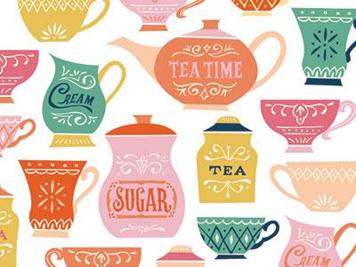 Tea Time Icons design pattern tea illustration surface design color lettering