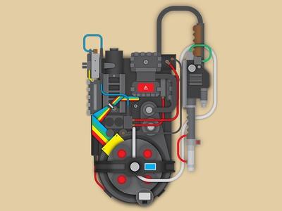 Proton Pack ghostbusters vector flat