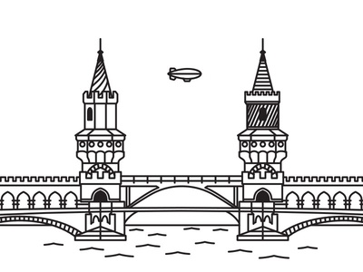Oberbaum Bridge berlin oberbaum line drawing sketch bridge inline europe landmark blimp span brücke