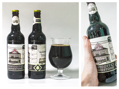 Westcott Grindstone Label syracuse beer coffee bottle label craft hops hop