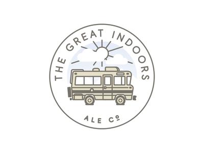 Great Indoors Seal automobile camper winnebago illustration branding logo