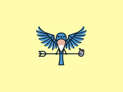 Blue Bird Logo wings fire flame arrow blue bird bird logo