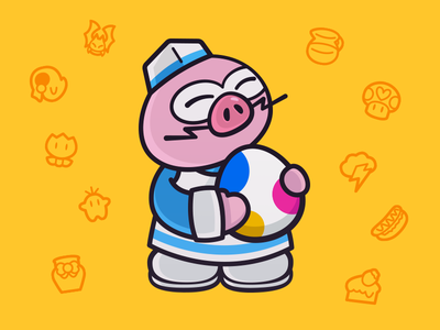Mr. Hoggle pig hoggle paper mario vector illustration illustrator illustration vector
