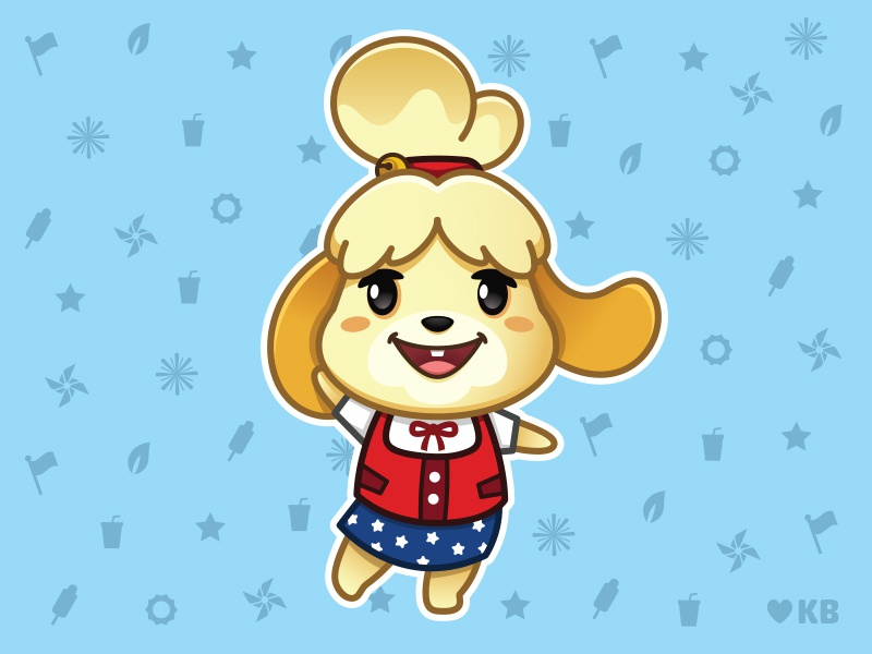 July 4th Isabelle july 4th animal crossing isabelle vector illustration