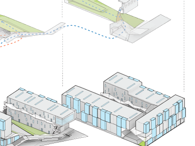 Architectural exlopded axonometric drawing 1