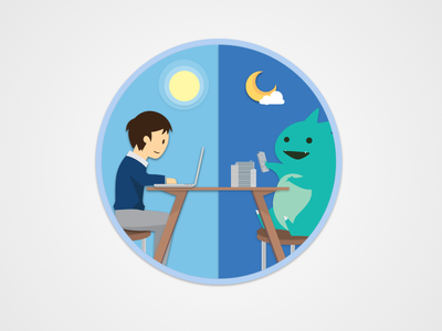 Hard Working Day and Night illustration ui ux web design vector icon interface