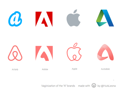 """""""A"""" brand logos redesigned with Airbnb style logo branding design vector airbnb apple adobe illustration spoof"""