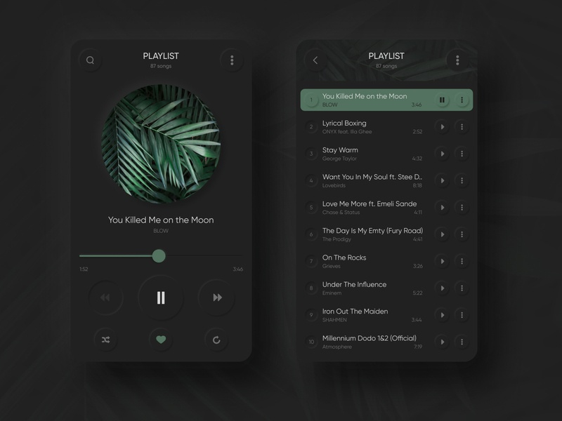 Music Player play simple interface creative ios android dark green shadow player music minimal gradient digital colors mobile app web design clean