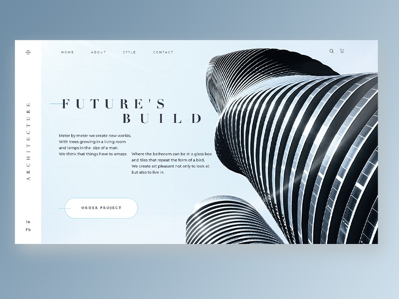Building Company ux ui web design blue business digital architect build minimalism flat house clean webdesign homepage