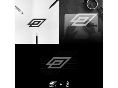 Letter P + Pen Icon