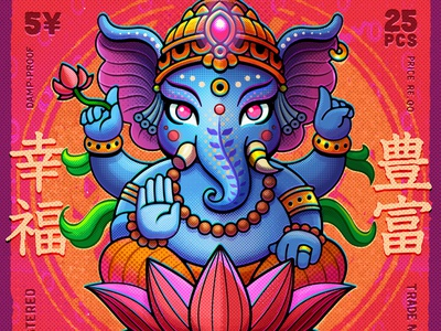 Ganesh Matchbox (details) print vector texture halftone japan japanese elephant god hindu india asia safety matches matchbox ganesha