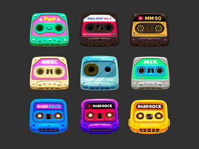 Cassettes cósmicos  m3sc pop rock props assets game space cosmic tape mixtape mix cassette