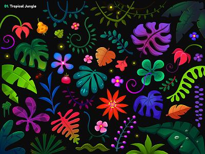 Garmin | Adventure Trail / 01A. Jungle Props wild nature lush palm fruits vector design game drawing illustration vines psychedelic leaf selva jungle forest flower flora vegetation plants