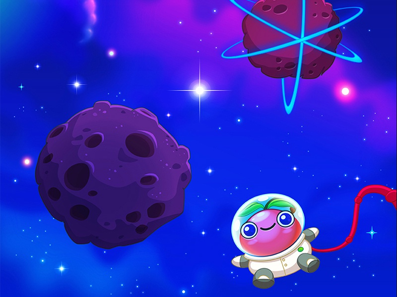 Berry Game / Map 3.1 nebula cosmos trip stars asteroid space universe planet fruit cherry berry kawaii cute casual game design game art game map