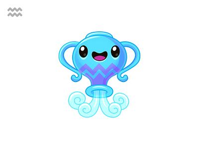 ♒Aquarius vector illustration kawaii character design character astrologia astrology zodiaco zodiac acuario aquarius water